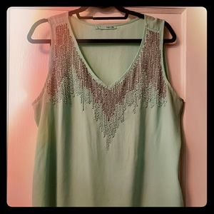 Mint with beads tank top